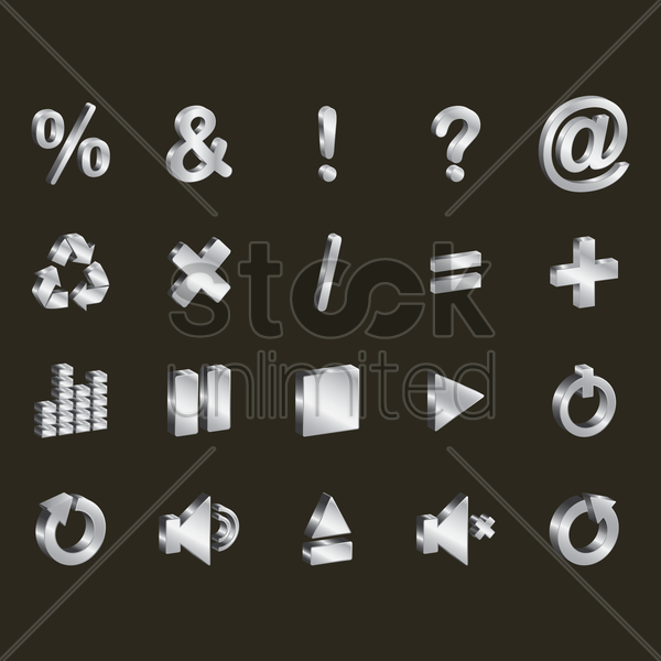 assorted interface icons vector graphic