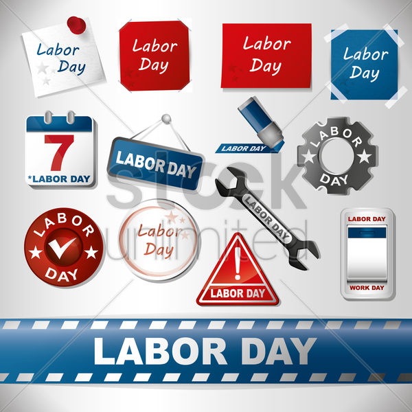 assorted labor day set vector graphic
