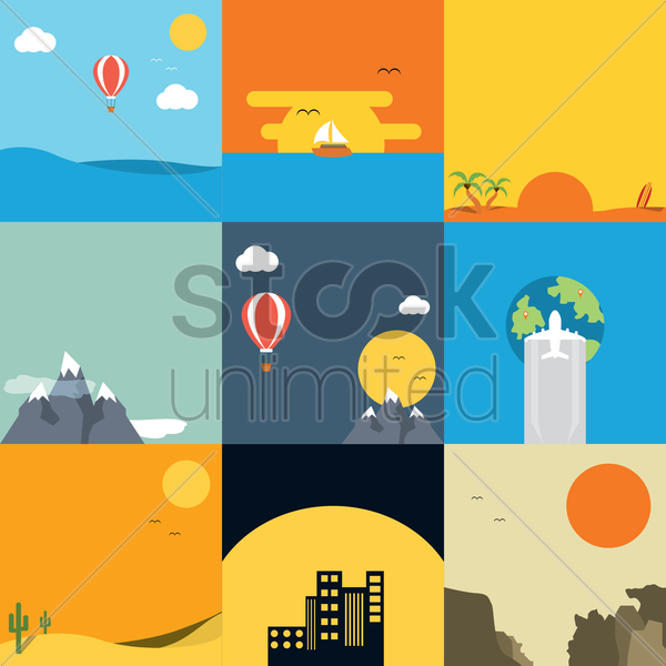 assorted nature collection vector graphic