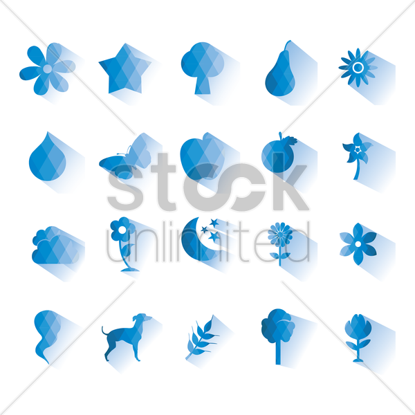 assorted nature icons vector graphic