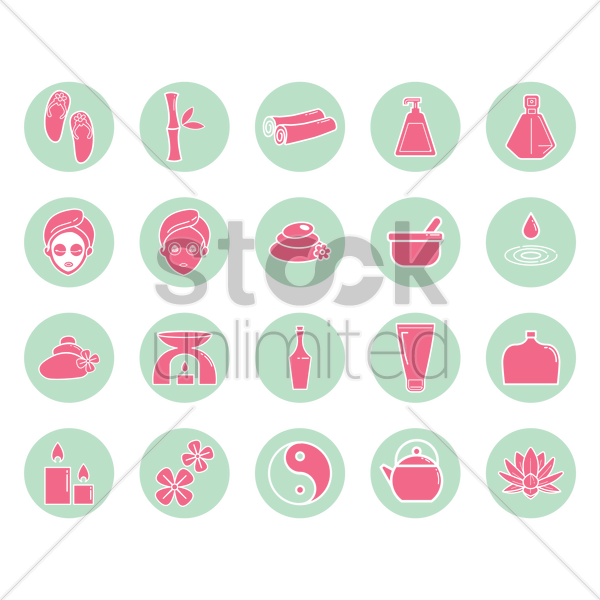 assorted spa icon set vector graphic