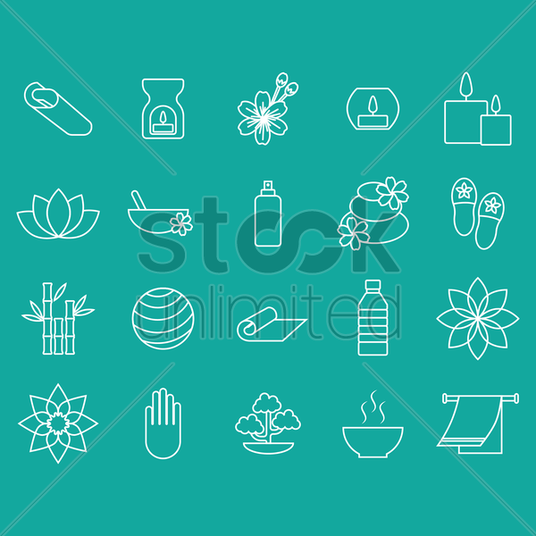 assorted spa set vector graphic