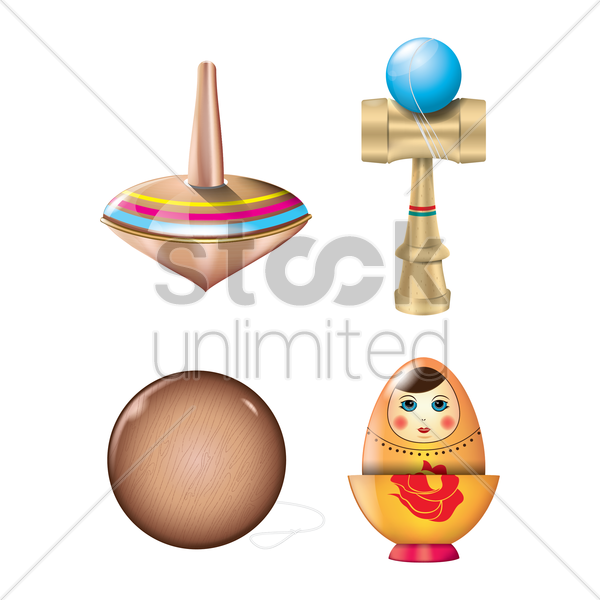 assorted toys set vector graphic