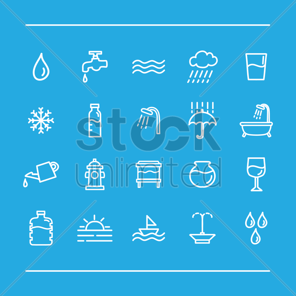 assorted water icons set vector graphic