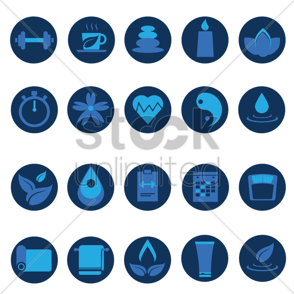 assorted wellness icons set vector graphic