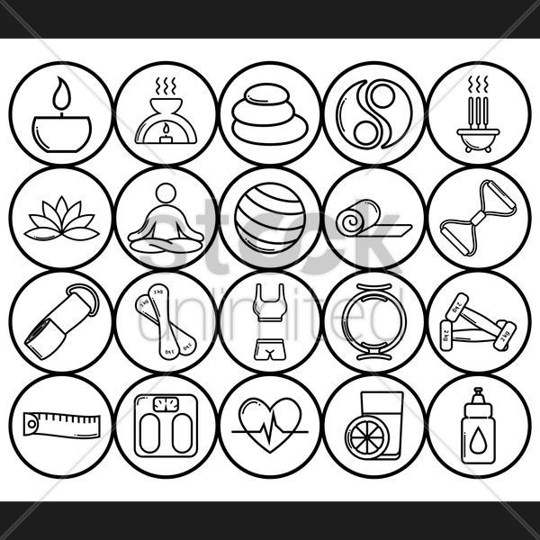 assorted zen and exercise icon set vector graphic