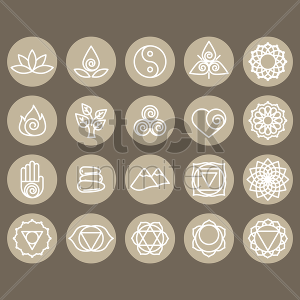 assorted zen and yoga icon set vector graphic