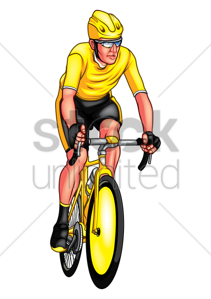 athlete in a bicycle race vector graphic