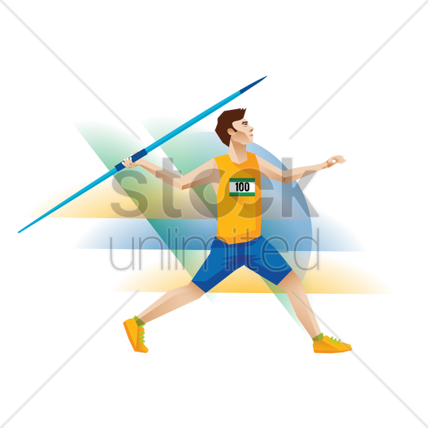 athlete making a javelin throw vector graphic