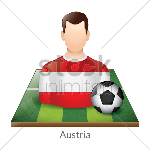 austria player with soccer ball on field vector graphic