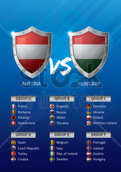 austria vs hungary vector graphic