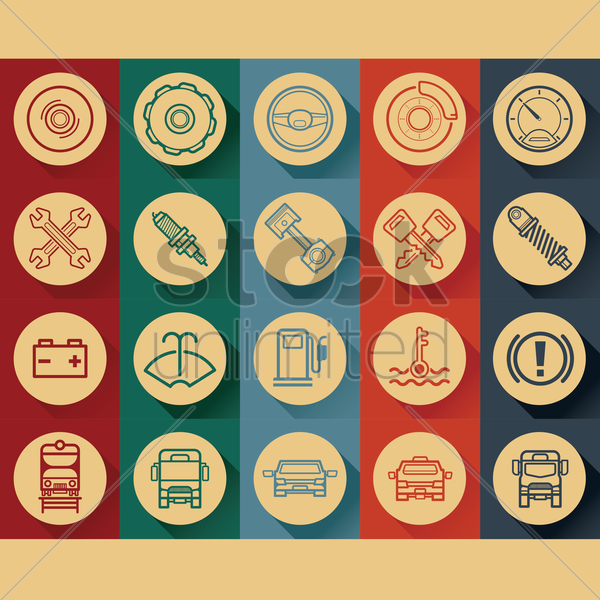auto icons vector graphic