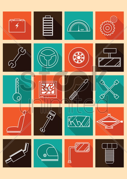 auto part icons vector graphic