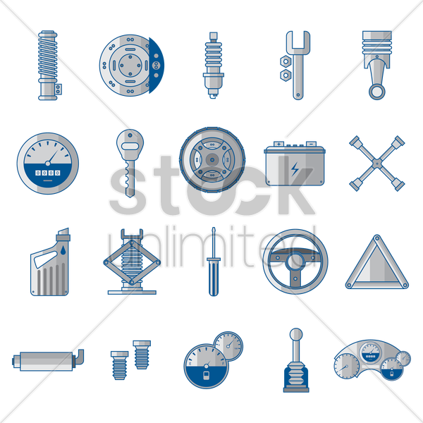 auto parts and tools vector graphic