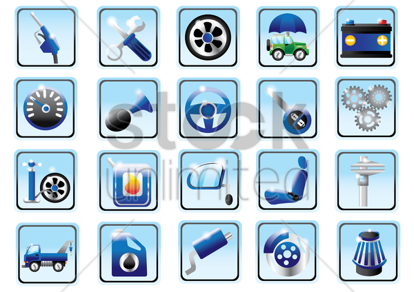 auto parts collection vector graphic