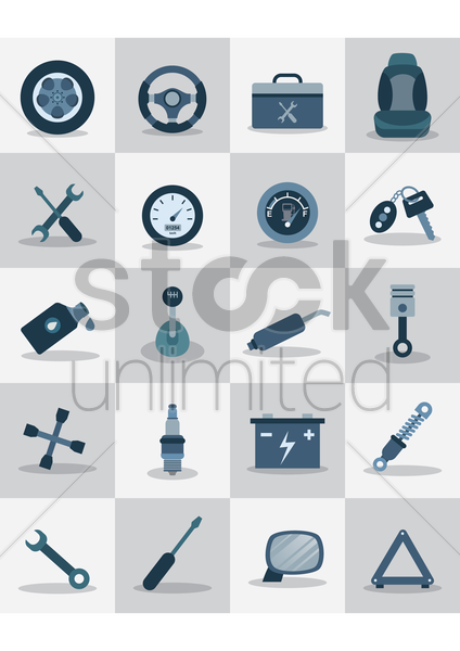 automobile icons vector graphic