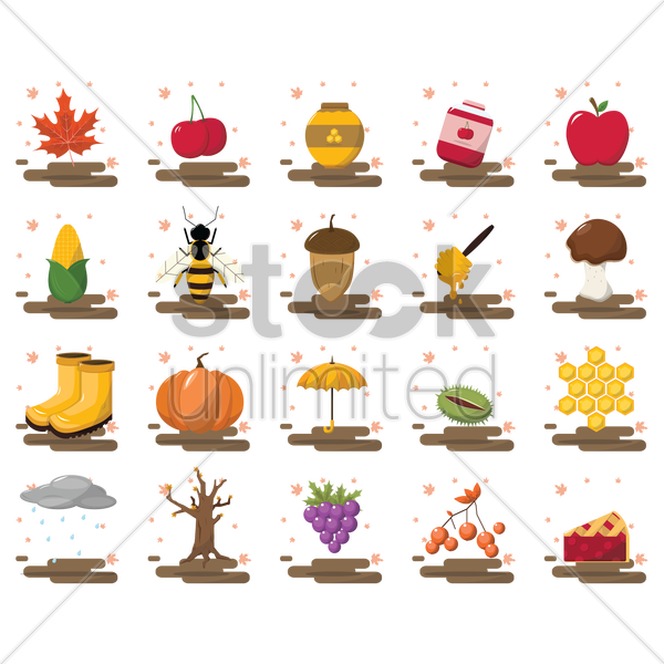 autumn collection vector graphic