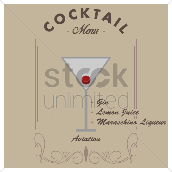 aviation cocktail drink vector graphic