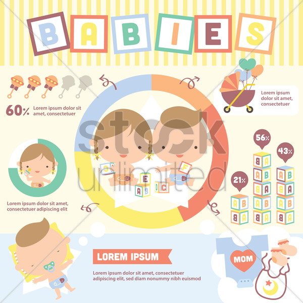 Free babies infographic vector graphic