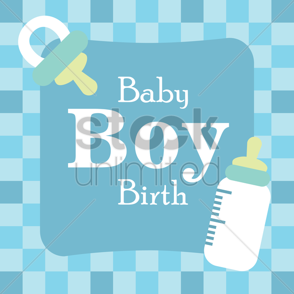 baby boy arrival card vector graphic