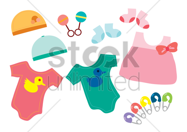 baby clothes and accessories vector graphic