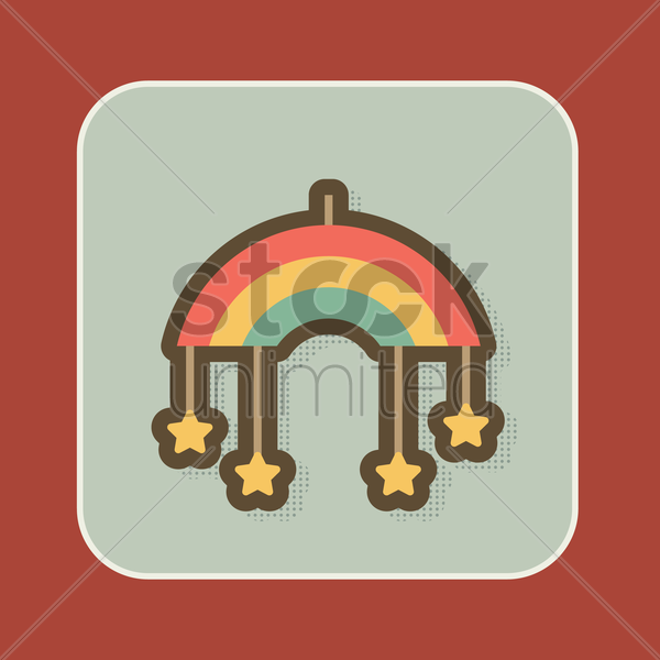 baby crib hanging toy with black stars vector graphic