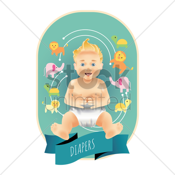 baby diapers label vector graphic