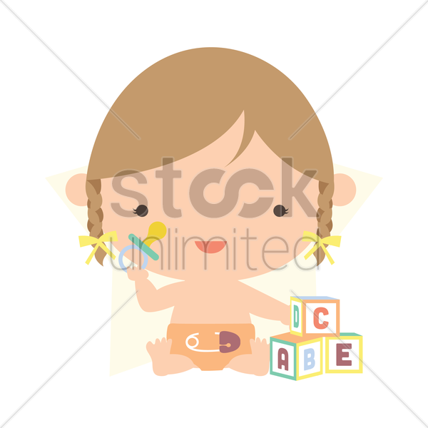 baby girl playing with blocks vector graphic
