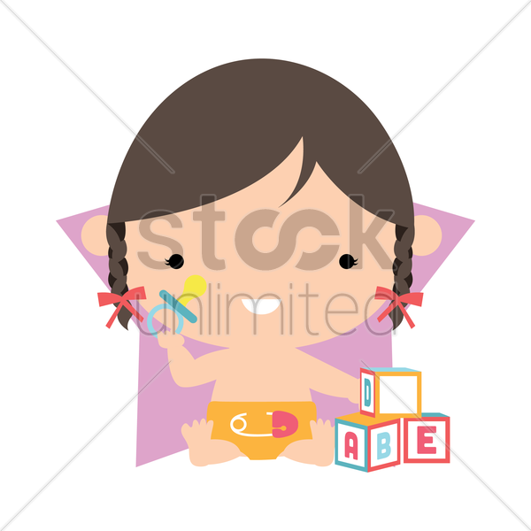 Free baby girl playing with blocks vector graphic