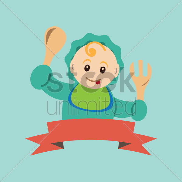 baby holding fork and spoon vector graphic