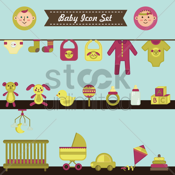 baby icon set vector graphic