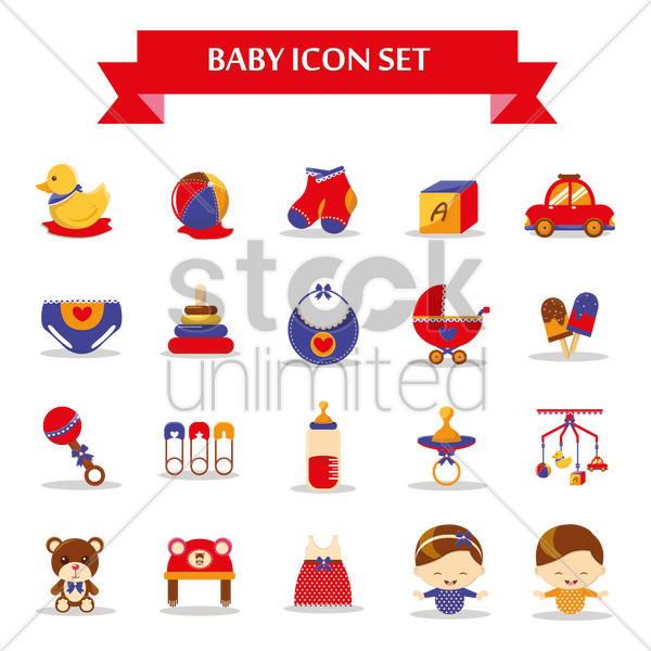 Free baby icon set vector graphic
