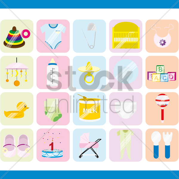 baby icons collection vector graphic