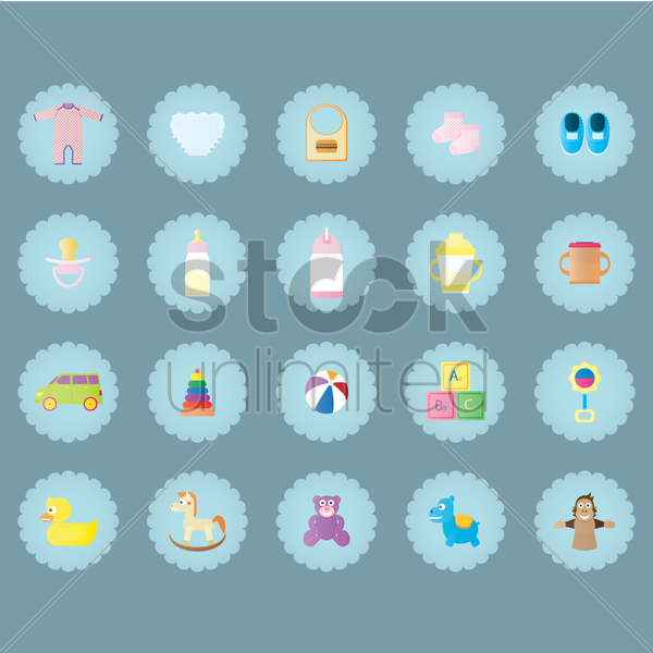 baby icons vector graphic