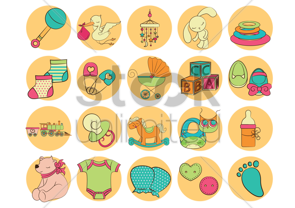 Free baby icons vector graphic