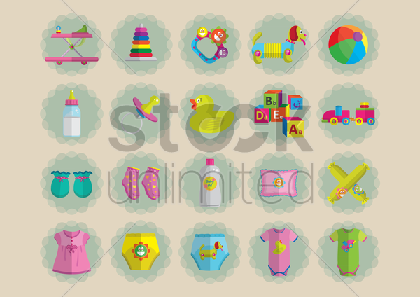 baby items collection vector graphic