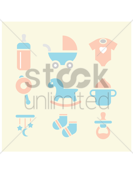 Free baby items collection vector graphic