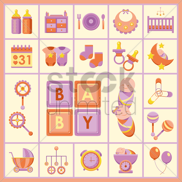baby products icons vector graphic