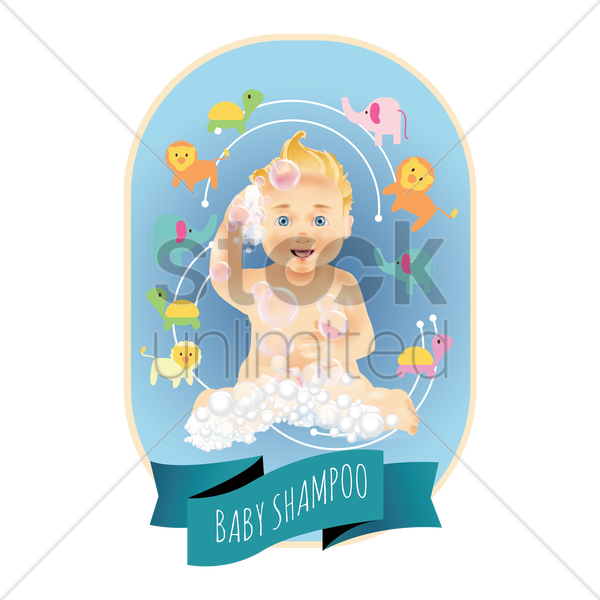 baby shampoo label vector graphic