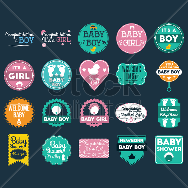 baby shower card collection vector graphic