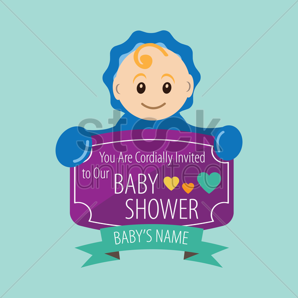 baby shower invitation card vector graphic