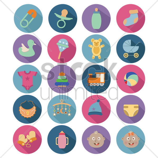 baby stuff icons vector graphic
