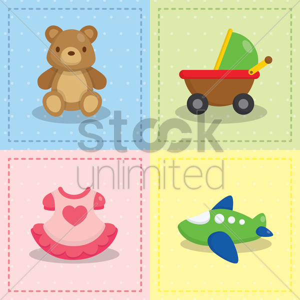 baby toys collection vector graphic