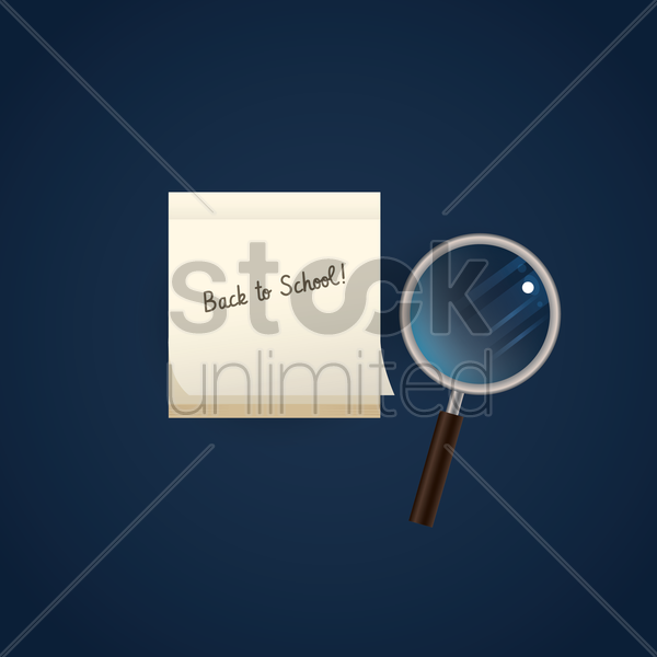 back to school and magnifying glass vector graphic