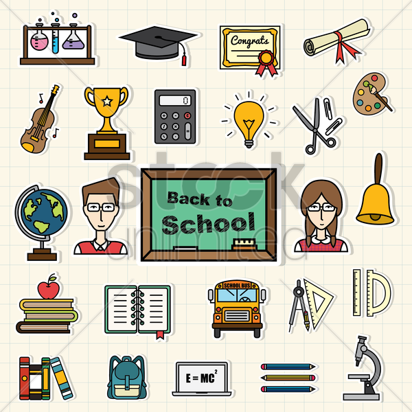 back to school icons vector graphic