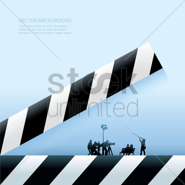 background with clapboard and film crew vector graphic