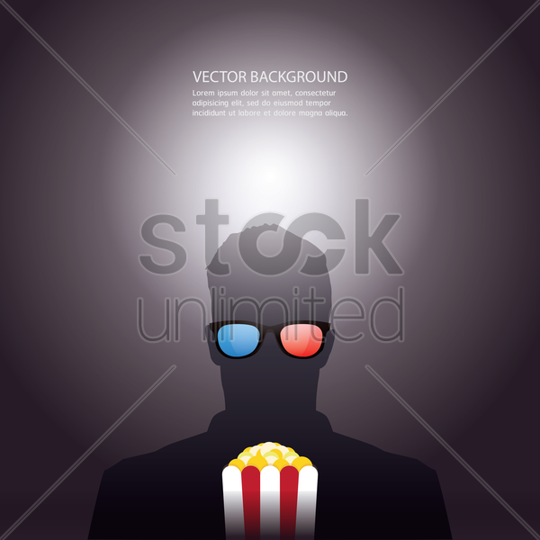 background with man and popcorn vector graphic