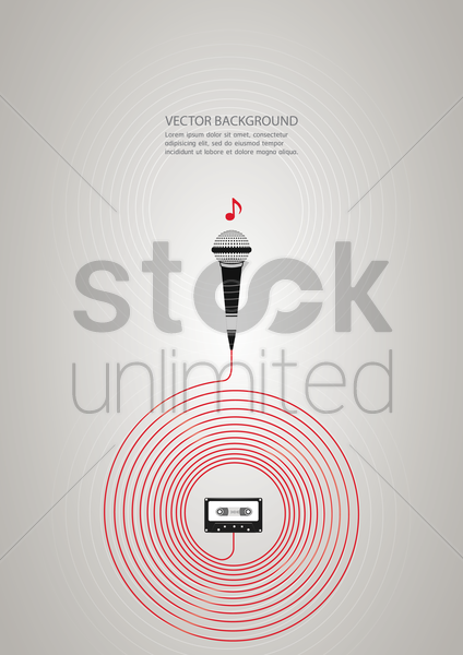background with microphone and cassette vector graphic
