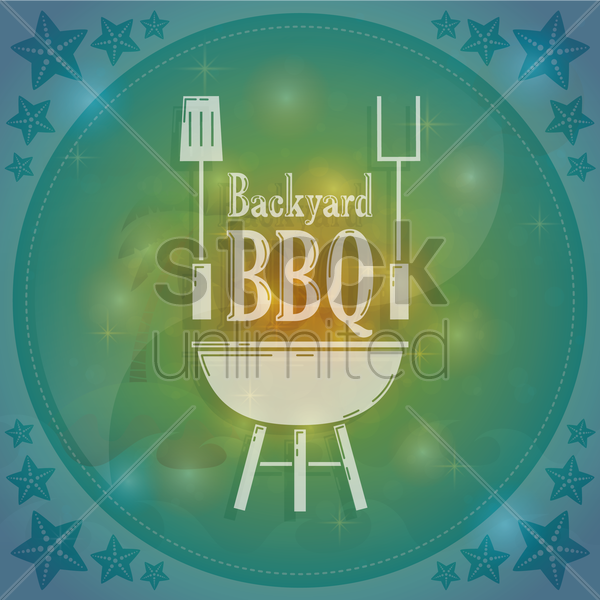 backyard bbq vector graphic