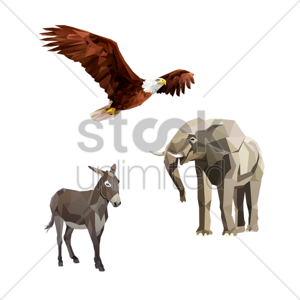 Free bald eagle, donkey and elephant vector graphic